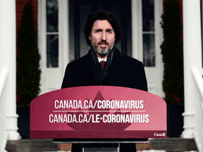 Prime Minister Justin Trudeau speaks about the COVID-19 pandemic at a news conference at Rideau Cottage in Ottawa on Friday, Feb. 5, 2021.