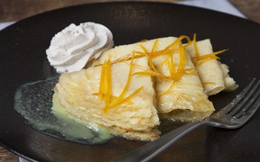 Our Signature Crepes Suzette for ATCO Blue Flame Kitchen for March 17, 2021; image supplied by ATCO Blue Flame Kitchen