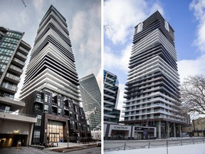 56 Annie Craig Drive, left, in Toronto and One Richmond Row in London, Ont., right.