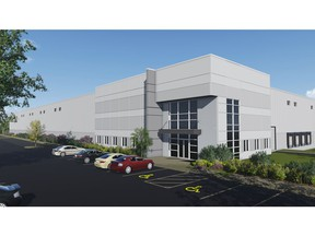 An artist's rendering of an under-construction, 409,369-square-foot distribution centre at High Plains Industrial Park.