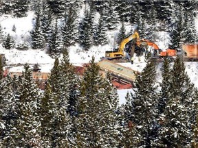 Photos show the aftermath of a train derailment along the edge of Crowsnest Lake that happened on Friday, Feb. 12.