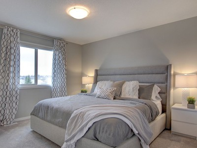 The master bedroom in the Peony show home by Cedarglen Homes, in the Parks of Harvest Hills.