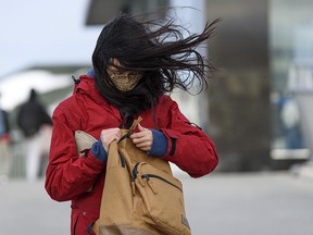 Wind buffets a woman on the Crowfoot CTrain overpass in Calgary on Jan. 13, 2021.