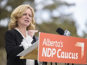 NDP Leader Rachel Notley speaks at a press conference on University of Calgary campus on Tuesday, March 2, 2021.