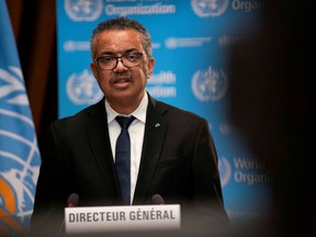 Tedros Adhanom Ghebreyesus, Director General of the World Health Organization (WHO) speaks during the opening of the 148th session of the Executive Board on the COVID-19 outbreak in Geneva, Switzerland, January 18, 2021.