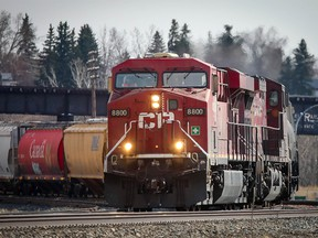 CP train on the tracks near the Canadian Pacific Railway facility in Millican Ogden in Southeast Calgary on Thursday, April 22, 2021.