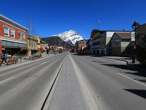 Banff Avenue was photographed on Tuesday, April 20, 2021. The central downtown area of Banff has mandatory mask bylaw indoors and outside.
