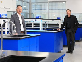 Northern RNA CEO Brad Stevens, left, and Providence Therapeutics CEO Brad Sorenson in Calgary on Jan. 25, 2021. Providence Therapeutics has partnered with Northern RNA to develop vaccine manufacturing.