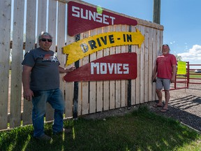 Wes Shaw, left, and Jeff Langford, who co-own the High River Sunset Drive-In with Roger Hamel (not pictured), were photographed on Sunday, May 16, 2021.