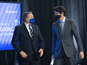 Quebec Premier François Legault and Prime Minister Justin Trudeau at an announcement in March.