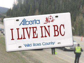 Some B.C. residents have resorted to bumper stickers explaining why they have Alberta plates amid local travel restrictions.
