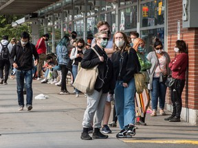 People lineup for Covid 19 testing outside of Toronto Michael Western Hospital on Sep. 15, 2020.