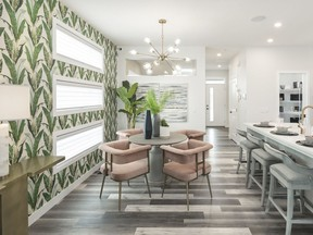 The dining area in the Cruz 20 show home by Jayman Built in Wolf Willow.