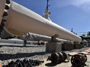 In this 2017 file photo, nuts, bolts and fittings are ready to be added to the east leg of the Line 5 pipeline near St. Ignace, Mich.