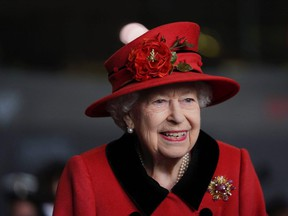 Queen Elizabeth at HM Naval Base ahead of the ship's maiden deployment on May 22, 2021 in Portsmouth, England.