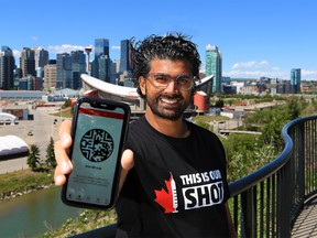 Calgary tech developer Zak Hussein created an app, PORTpass, that allows users to store vaccination and COVID-19 testing information digitally in one simple place. He was photographed in Calgary on Wednesday, June 16, 2021.