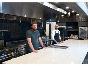 Cody Willis, left, and chef Rafael Castillo were photographed in their new restaurant Fonda Fora on Thursday, June 10, 2021. The establishment is set to open on June 29.