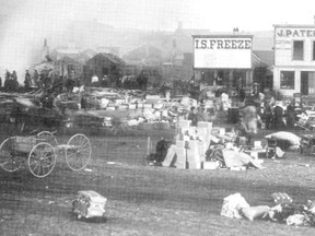 I.S Freeze's store survived Calgary's great fire of 1886. This photo shows the aftermath of the fire, looking north along 9th Avenue (called Atlantic Avenue in those days.) Photo from the book Calgary 1875-1975 published by the Calgary Herald.