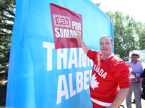 Alberta Premier Jason Kenney attends a Canada Day event in Parkland in southeast Calgary on Thursday, July 1, 2021. Jim Wells/Postmedia