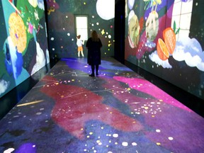 Visitors view the installation at the opening of Every Second Narrated by Isabella Rossellini which premieres in New Digital Immersion Gallery at Telus Spark Science Centre on July 28, 2021. Jim Wells / Postmedia