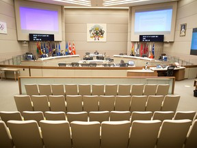 Calgary city council chambers were photographed during the council vote to rescind the mandatory masking bylaw in the city. Mandatory masking for transit and inside city owned and operated facilities will remain for the time being. Council voted on Monday, July 5, 2021.