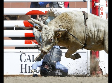 Gavin Michael from Nixa, MO riding Devils Advocate during the Bull riding event on day 4 of the 2021 Calgary Stampede rodeo on Monday, July 12, 2021. Darren Makowichuk/Postmedia