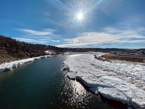 File photo: The view south over the Bow River from the deck of the Jack Tennant Memorial Bridge in Cochrane.