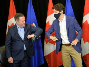 Canada's Prime Minister Justin Trudeau meets with Alberta Premier Jason Kenney, in Calgary, Alberta, Canada July 7, 2021.