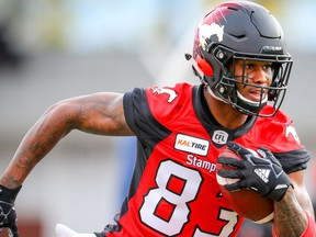 Calgary Stampeders Markeith Ambles during warm-up before facing the Toronto Argonauts in CFL football in Calgary on Friday, September 28, 2018. Al Charest/Postmedia