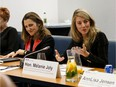 Deputy Prime Minister Chrystia Freeland, left, and Economic Development Minister Mélanie Joly at a Federation of Canadian Municipalities' Western Economic Solutions Taskforce meeting at the Renaissance Edmonton Airport Hotel in Nisku on Feb. 10, 2020.