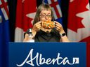 Alberta Chief Medical Officer of Health Dr. Deena Hinshaw speaks at a COVID-19 press conference in Edmonton on August 13, 2021.