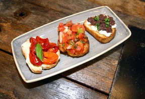A selection of bruschetta at Toto Pizza. Brendan Miller/Postmedia