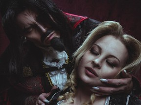 Richard Bowden and Lindsey Bladon in their cosplay roles of Dracula and Lisa from Netflix's Castlevania. Photo by Alexandra Lee Photography.