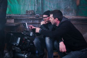 Cinematographer Nick Thomas and director Scott Westby on the set of Jonesin '.  Photo by Benjamin Laird.