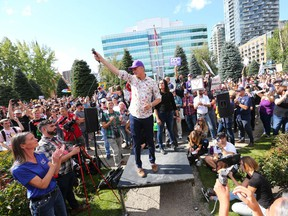 People's Party of Canada leader Maxime Bernier speaks to the crowd during a rally at Central Memorial Park in downtown Calgary on Saturday, September 18, 2021. Over 1000 attended the event where PPC leader Maxime Bernier spoke to the crowd.