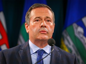 Premier Jason Kenney during a news conference regarding the surging COVID cases in the province in Calgary on Wednesday, Sept. 15, 2021.