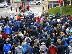 Hundreds came out for the Frontline for Freedom rally and walk at Olympic Plaza in Calgary on Sunday, September 12, 2021.