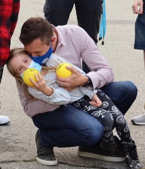 Coun. Jeff Davison pictured with his six-year-old daughter. Davison says his daughter's kidney surgery has been delayed due to COVID-19.