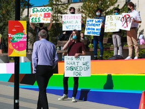 University of Calgary students protest the university's last minute decision to switch some courses to online on Tuesday, September 7, 2021.   Gavin Young/Postmedia