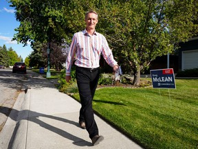 Conservative Calgary Centre candidate Greg McLean goes door-to-door speaking with supporters in the southwest community of Bel-Aire on election day Monday, September 20, 2021.