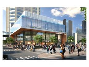 Rendering of Stephen Avenue Place in downtown Calgary shows a wrap-around restaurant and patio.