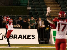 Calgary Stampeders receiver Kamar Jorden ruffled some feathers in Edmonton with his antler touchdown celebration during   Saturday's win over the Elks at Commonwealth Stadium.