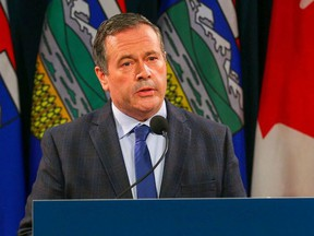 Alberta Premier Jason Kenney during a news conference regarding the surging COVID cases in the province on Sept. 15.