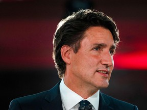 Prime Minister Justin Trudeau delivers his victory speech after general elections at the Queen Elizabeth Hotel in Montreal, Quebec, Sept. 21, 2021.