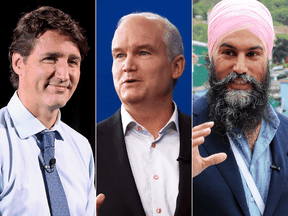 The major party leaders as they announced their platforms for the 2021 federal election: Liberal Justin Trudeau, Conservative Erin O'Toole and NDP Jagmeet Singh.