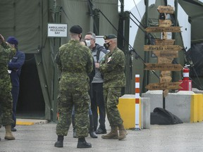 Members of the Canadian Forces outside  Sunnybrook Hospital on Friday April 30, 2021. Health unions in ALberta are calling on the premier to ask for military assistance.