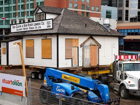 The Eau Claire & Bow River Lumber Co. Building is ready to be moved to a temporary location where it will be preserved and protected. The building is being moved temporarily as part of the Eau Claire Plaza redesign project. Wednesday, October 13, 2021.