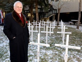 Murray McCann, Field of Crosses, looks over the field of crosses at Mount Royal University to honour the 29 students who made the ultimate sacrifice in service for their country in Calgary on Tuesday, October 29, 2019. McCann has been honoured for his work with the Alberta Order of Excellence.