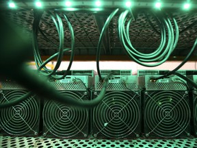 Cryptocurrency mining machines at a facility in Quebec.