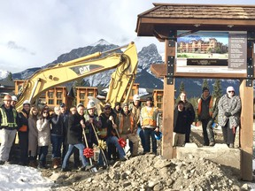 Frank Kernick, developer, (left red bow shovel) and the Spring Creek construction crew break ground on White Spruce Lodge in Canmore, Alta. on Wednesday, Nov. 15, 2017. Photo courtesy of Scott Henderson/ Spring Creek